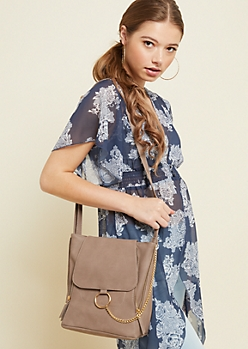 Taupe Chain Detail Crossbody Bag