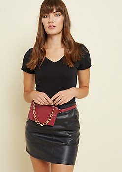Burgundy Faux Leather Chain Waist Bag