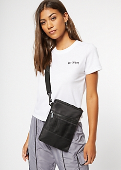 Black Mesh Nylon Crossbody