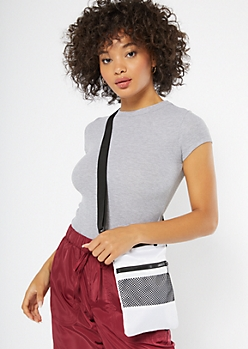 White Mesh Nylon Crossbody