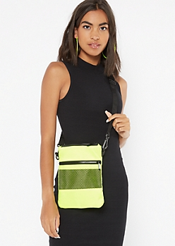 Neon Green Mesh Nylon Crossbody