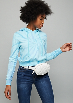 White Quilted Oval Fanny Pack