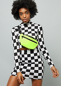 Neon Green Nylon Double Pocket Fanny Pack