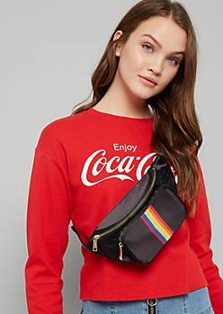 Black Striped Rainbow Fanny Pack