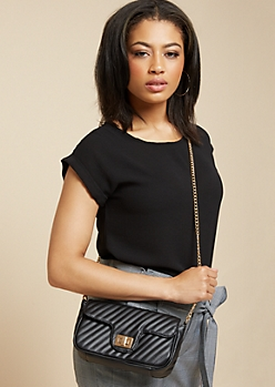 Black Striped Chain Shoulder Strap Crossbody Bag