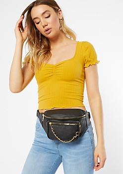 Black Chain Front Fanny Pack