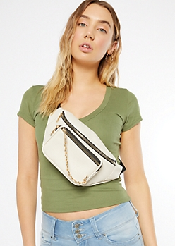 Cream Chain Front Fanny Pack