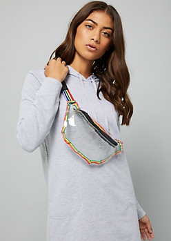 Clear Rainbow Strap Stadium Fanny Pack