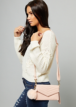 Pink Chevron Pom Pom Crossbody Bag