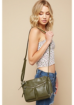 Olive Diagonal Zipper Tassel Crossbody Bag