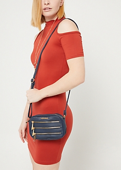 Blue Triple Zip Crossbody Bag