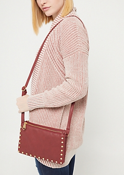 Burgundy Studded Crossbody Bag