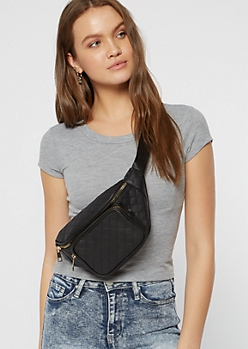 Black Quilt Front Pocket Fanny Pack