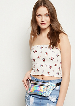 Silver Iridescent Flat Fanny Pack