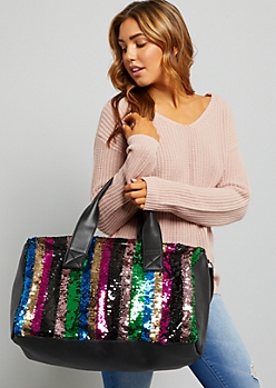 Rainbow Sequined Striped Duffle Bag