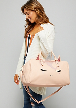 Light Pink Glitter Unicorn Face Duffle Bag