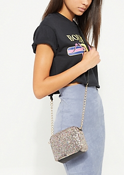 Multi Color Glitter Mini Crossbody Bag