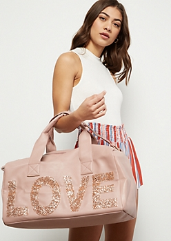 Medium Pink Glitter Love Duffle Bag
