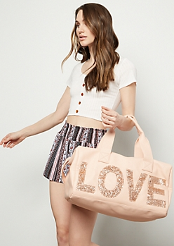 Light Pink Glitter Love Duffle Bag