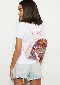 Pink Iridescent French Bulldog Mini Backpack