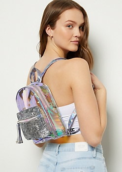 Clear Iridescent Glitter Pocket Mini Backpack