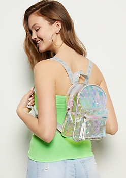 Clear Iridescent Glitter Heart Mini Backpack