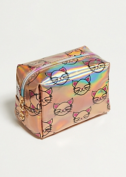 Holographic Kitty Cosmetic Bag