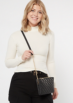Black Faux Leather Quilted Crossbody
