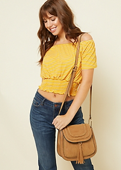 Cognac Braided Tassel Crossbody Bag