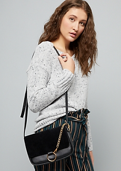 Black Faux Suede Gold Chain Crossbody Bag