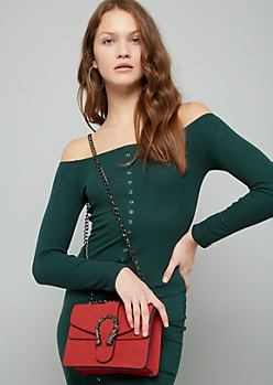 Red Faux Suede Mermaid Horseshoe Crossbody Bag