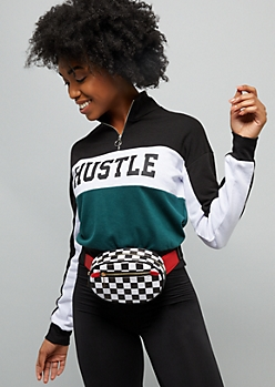 Checkered Print Oval Fanny Pack