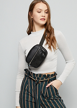 Black Faux Leather Sequin Fanny Pack