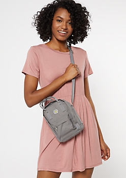 Gray Daisy Embroidered Crossbody Bag