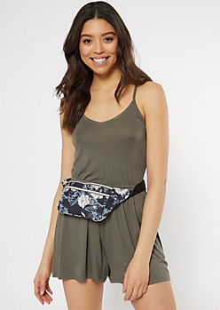 Navy Floral Print Nylon Fanny Pack