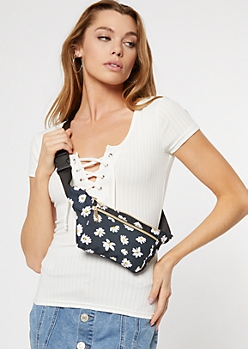 Black Sunflower Print Nylon Fanny Pack