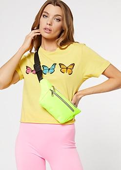 Neon Yellow Nylon Fanny Pack