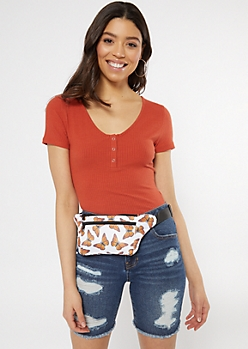 White Butterfly Print Nylon Fanny Pack