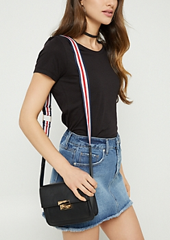 Black Striped Pattern Strap Crossbody Bag