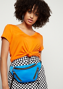 Neon Blue Studded Zip Fanny Pack