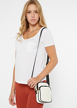 White Striped Crossbody Bag