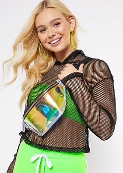 Clear Iridescent Zippered Fanny Pack