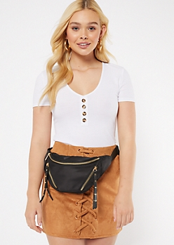 Black Studded Zip Fanny Pack