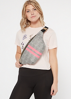 Light Pink Striped Plaid Print Oversized Fanny Pack