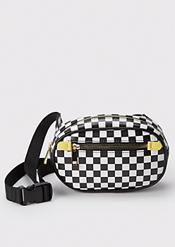 Yellow Checkered Print Oval Fanny Pack