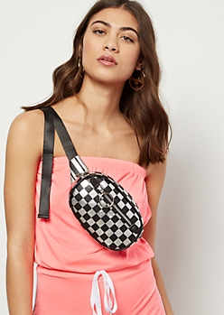 Metallic Checkered Print Oval Fanny Pack