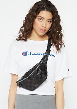 Black Checkered Print Nylon Fanny Pack