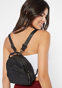 Black Nylon Triple Pocket Mini Backpack