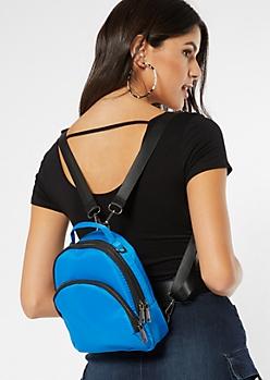 Blue Nylon Triple Pocket Mini Backpack