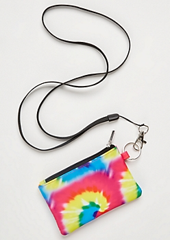 Rainbow Spiral Tie Dye Lanyard Wallet